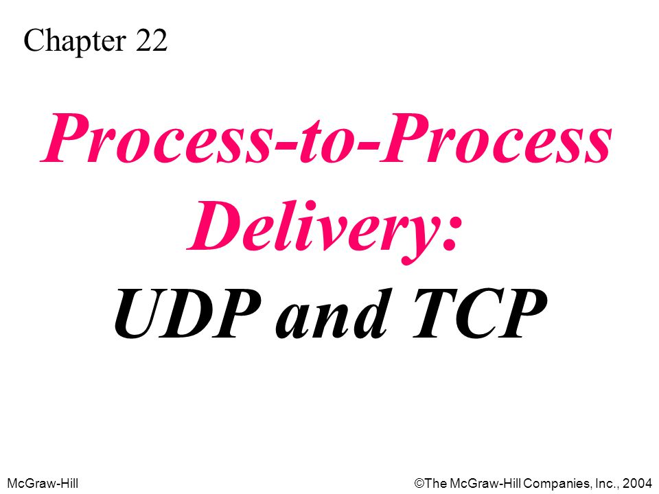McGraw-Hill©The McGraw-Hill Companies, Inc., 2004 Chapter 22 Process-to-Process Delivery: UDP and TCP