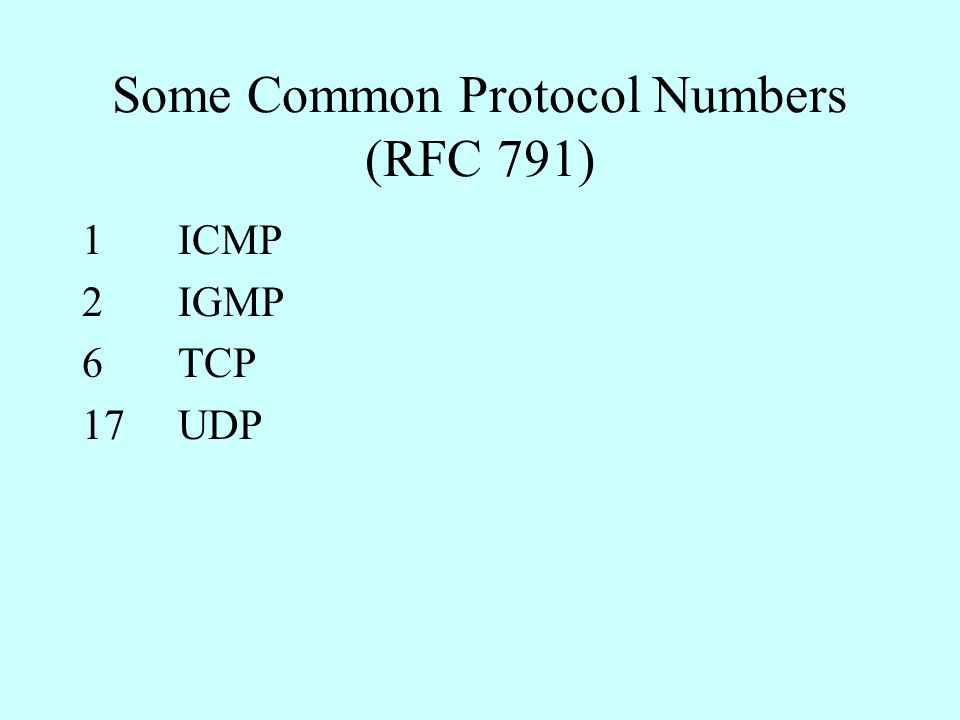 Some Common Protocol Numbers (RFC 791) 1ICMP 2IGMP 6TCP 17UDP