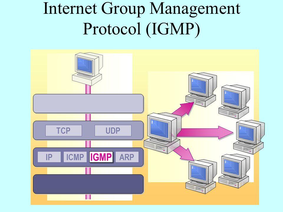 Internet Group Management Protocol (IGMP) UDPTCP IPICMP IGMP ARP