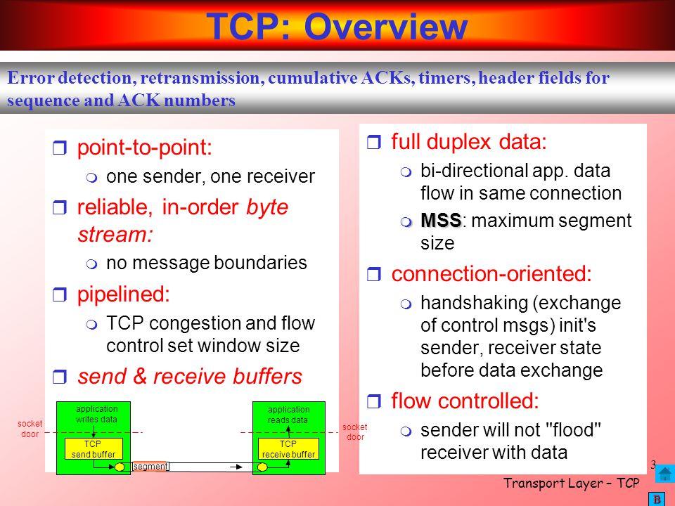 Transport Layer – TCP 14 BBBB EstimatedRTT = 0.875 * EstimatedRTT + 0.125 * SampleRTT EstimatedRTT after the receipt of the ACK of segment 1: EstimatedRTT = RTT for Segment 1 = 0.02746 second EstimatedRTT after the receipt of the ACK of segment 2: EstimatedRTT = 0.875 * 0.02746 + 0.125 * 0.035557 = 0.0285 EstimatedRTT after the receipt of the ACK of segment 3: EstimatedRTT = 0.875 * 0.0285 + 0.125 * 0.070059 = 0.0337 EstimatedRTT after the receipt of the ACK of segment 4: EstimatedRTT = 0.875 * 0.0337+ 0.125 * 0.11443 = 0.0438 EstimatedRTT after the receipt of the ACK of segment 5: EstimatedRTT = 0.875 * 0.0438 + 0.125 * 0.13989 = 0.0558 EstimatedRTT after the receipt of the ACK of segment 6: EstimatedRTT = 0.875 * 0.0558 + 0.125 * 0.18964 = 0.0725 Sample Calculations
