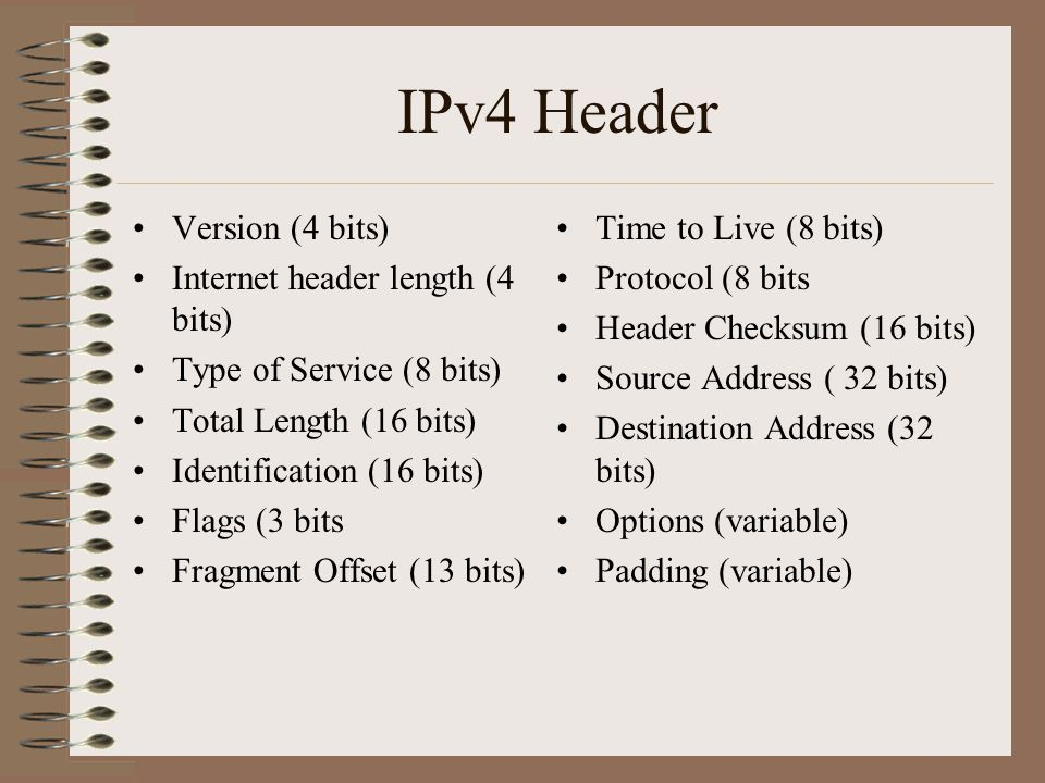 IPv4 Header Version (4 bits) Internet header length (4 bits) Type of Service (8 bits) Total Length (16 bits) Identification (16 bits) Flags (3 bits Fragment Offset (13 bits) Time to Live (8 bits) Protocol (8 bits Header Checksum (16 bits) Source Address ( 32 bits) Destination Address (32 bits) Options (variable) Padding (variable)