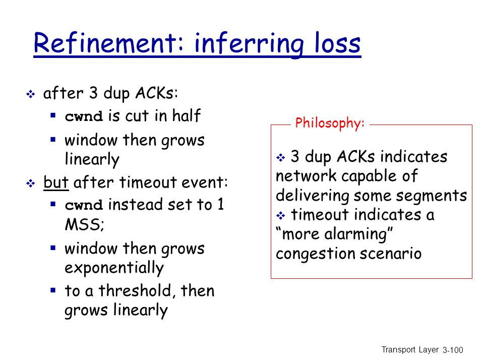 Transport Layer 3-100 Refinement: inferring loss  after 3 dup ACKs:  cwnd is cut in half  window then grows linearly  but after timeout event:  cwnd instead set to 1 MSS;  window then grows exponentially  to a threshold, then grows linearly  3 dup ACKs indicates network capable of delivering some segments  timeout indicates a more alarming congestion scenario Philosophy: