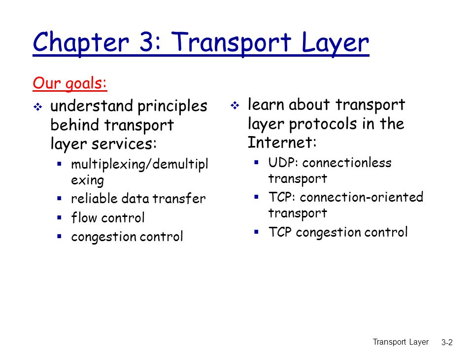 Transport Layer 3-103 TCP throughput  what's the average throughout of TCP as a function of window size and RTT.