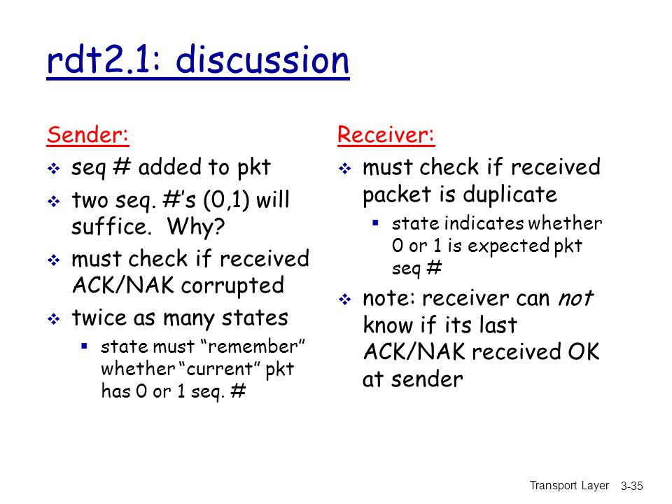 Transport Layer 3-35 rdt2.1: discussion Sender:  seq # added to pkt  two seq.
