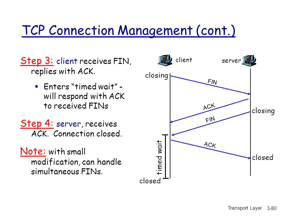 Transport Layer 3-80 TCP Connection Management (cont.) Step 3: client receives FIN, replies with ACK.