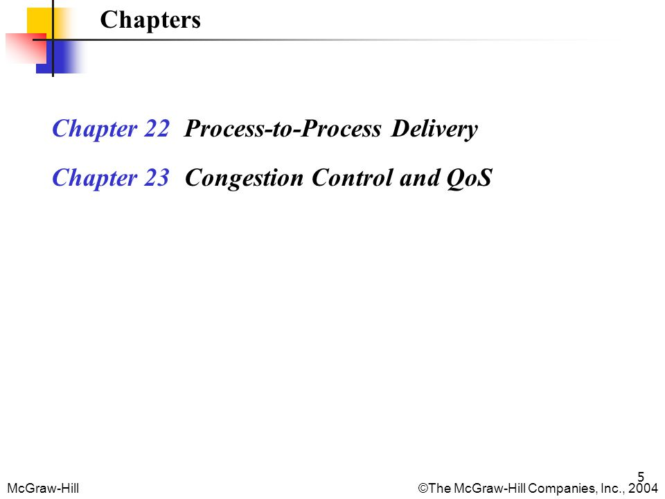 McGraw-Hill©The McGraw-Hill Companies, Inc., 2004 46 Figure 22.23 Expanding the sender window If the receiving process consumes data faster than it receives, the size of the receiver window expands (the buffer has more free locations).
