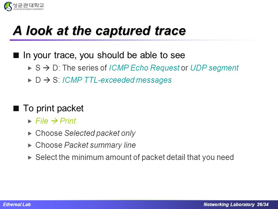 Ethereal Lab Networking Laboratory 26/34 A look at the captured trace In your trace, you should be able to see  S  D: The series of ICMP Echo Reques