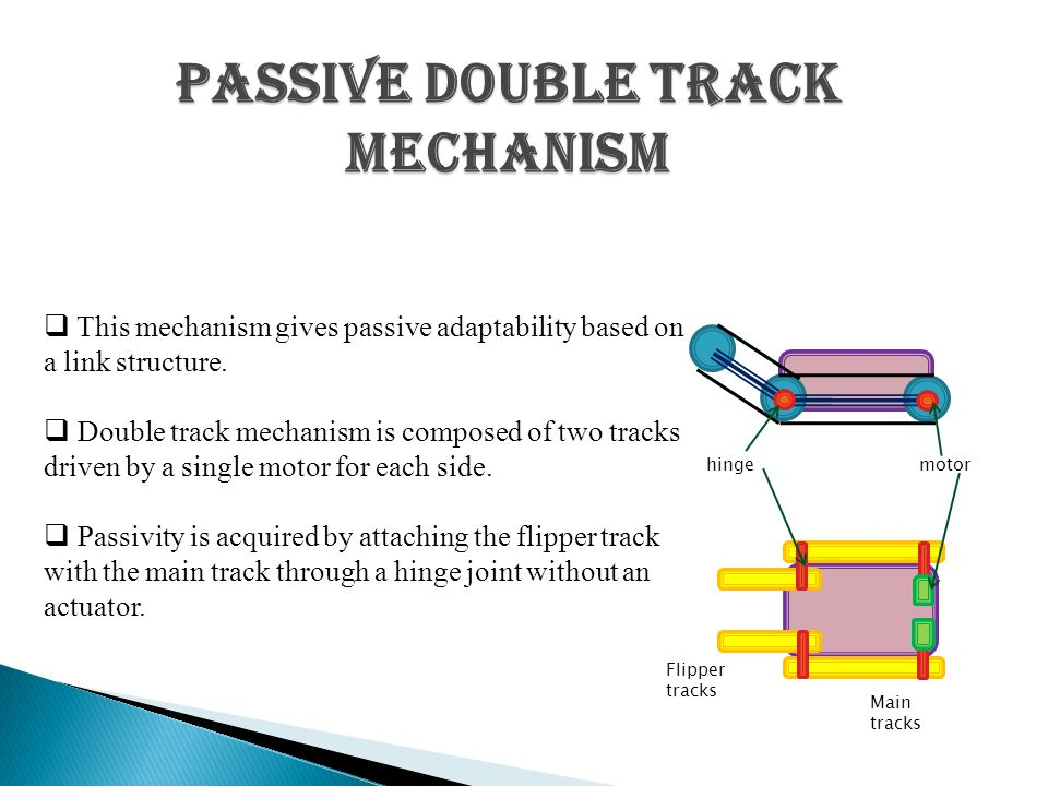 Passive double track mechanism  This mechanism gives passive adaptability based on a link structure.