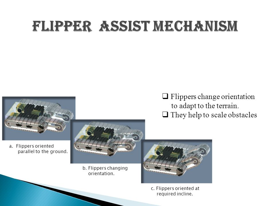 Flipper Assist mechanism a.Flippers oriented parallel to the ground.