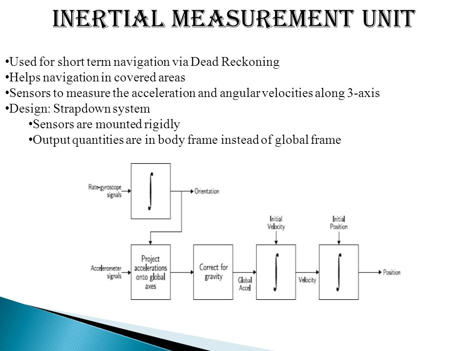 Inertial Measurement Unit Used for short term navigation via Dead Reckoning Helps navigation in covered areas Sensors to measure the acceleration and angular velocities along 3-axis Design: Strapdown system Sensors are mounted rigidly Output quantities are in body frame instead of global frame