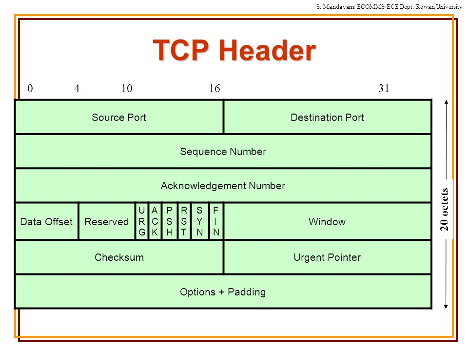 S. Mandayam/ ECOMMS/ECE Dept./Rowan University TCP Header Source PortDestination Port Sequence Number Acknowledgement Number Data OffsetReserved URGUR