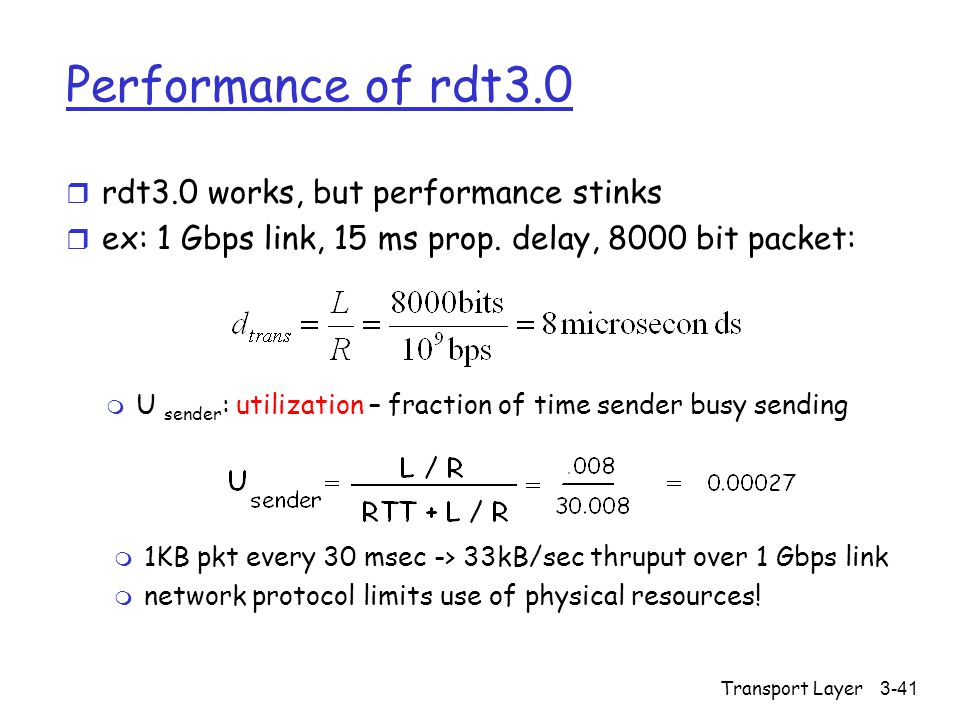 Transport Layer3-41 Performance of rdt3.0 r rdt3.0 works, but performance stinks r ex: 1 Gbps link, 15 ms prop.