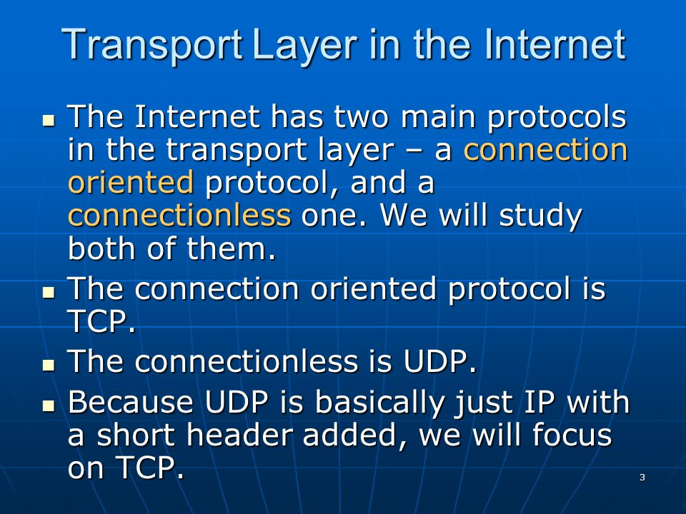 4Intro TCP (Transmission Control Protocol) was specifically designed to provide a reliable end-to-end byte stream over an unreliable internetwork.
