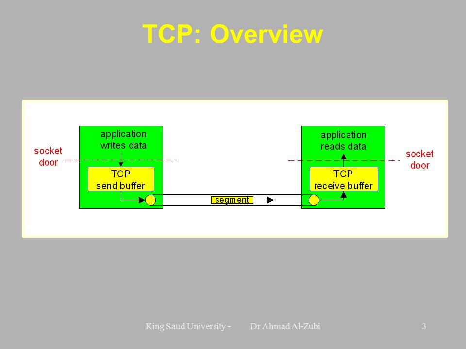 King Saud University - Dr Ahmad Al-Zubi3 TCP: Overview