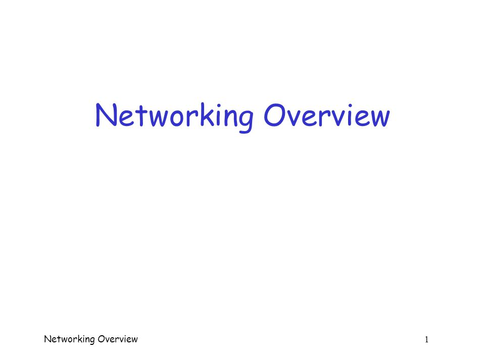 Networking Overview 41 Other Stuff in IP Header  Version --- IPv4 or IPv6  Hlen --- total length of IP header  Service Type --- for quality of service  Total Length --- length of data and header  Identification --- for fragment reassembly  Flags --- don't fragment, more fragments, …  Fragmentation Offset --- how to reassemble fragments