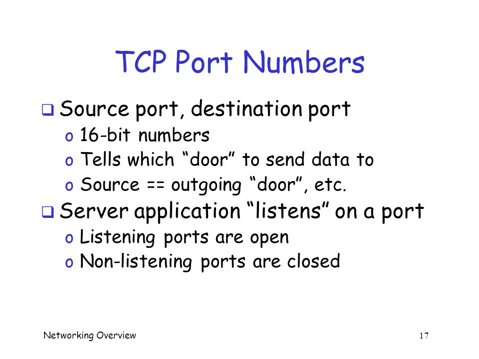 Networking Overview 16 TCP Header  Every TCP packet includes header