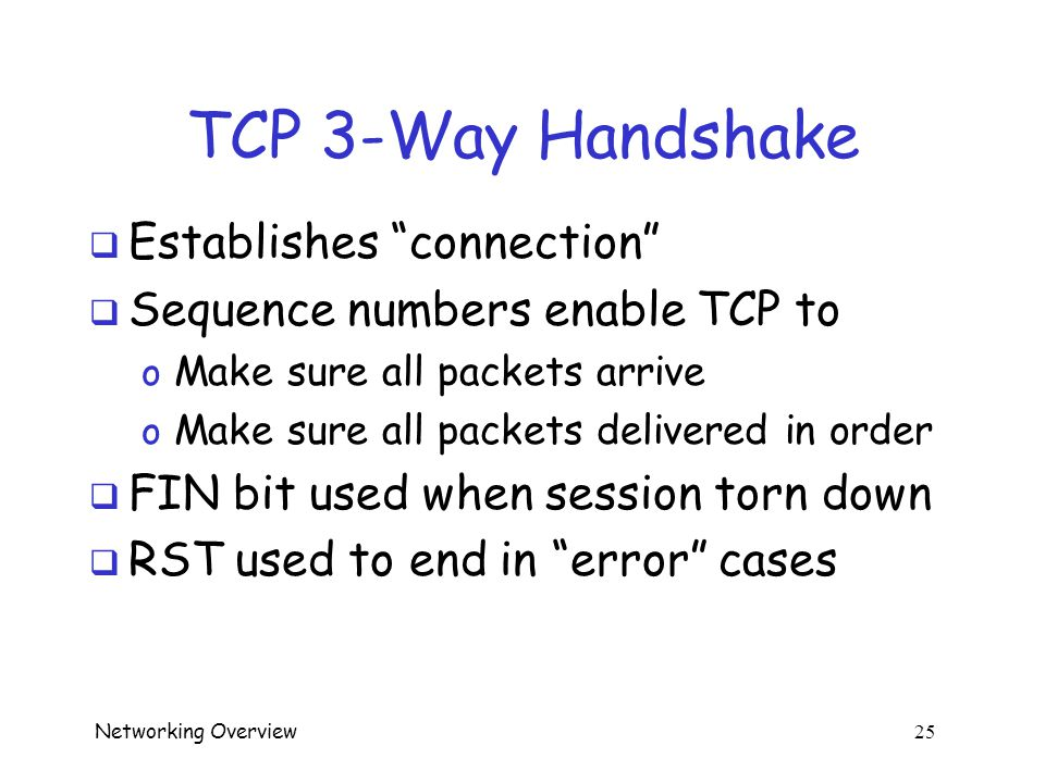 Networking Overview 24 TCP 3-Way Handshake  Used to establish TCP connection  Note sequence numbers: ISN A and ISN B o ACK and SYN flag bits used he