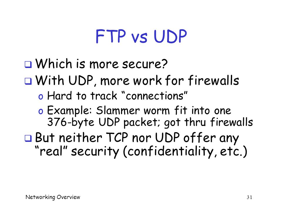Networking Overview 30 Where is UDP Used.