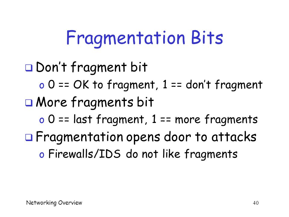 Networking Overview 39 Packet Fragmentation  Link may accept packet of max length  What if packet is too big?  Fragmentation! o Router chops packet