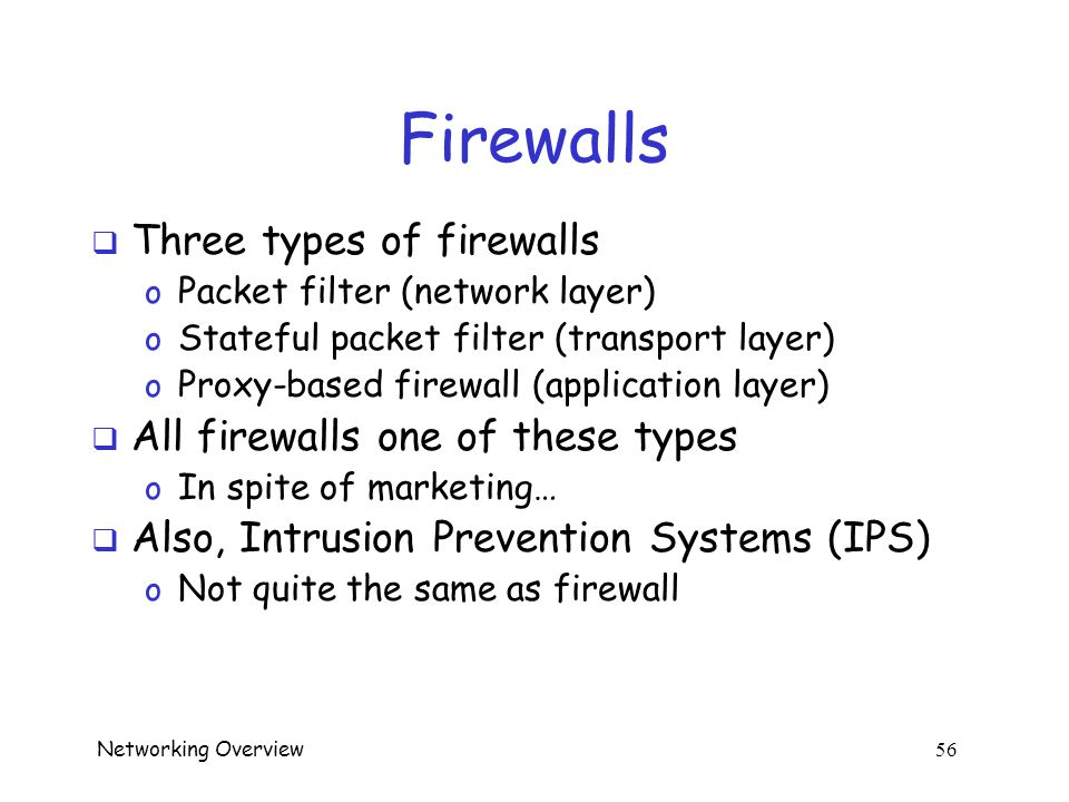 Networking Overview 55 Firewalls  Attacker: kick ball past goalie…
