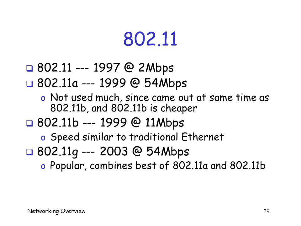 Networking Overview 78 WLAN  Regular LAN attacks work on WLAN  Physical access not required.