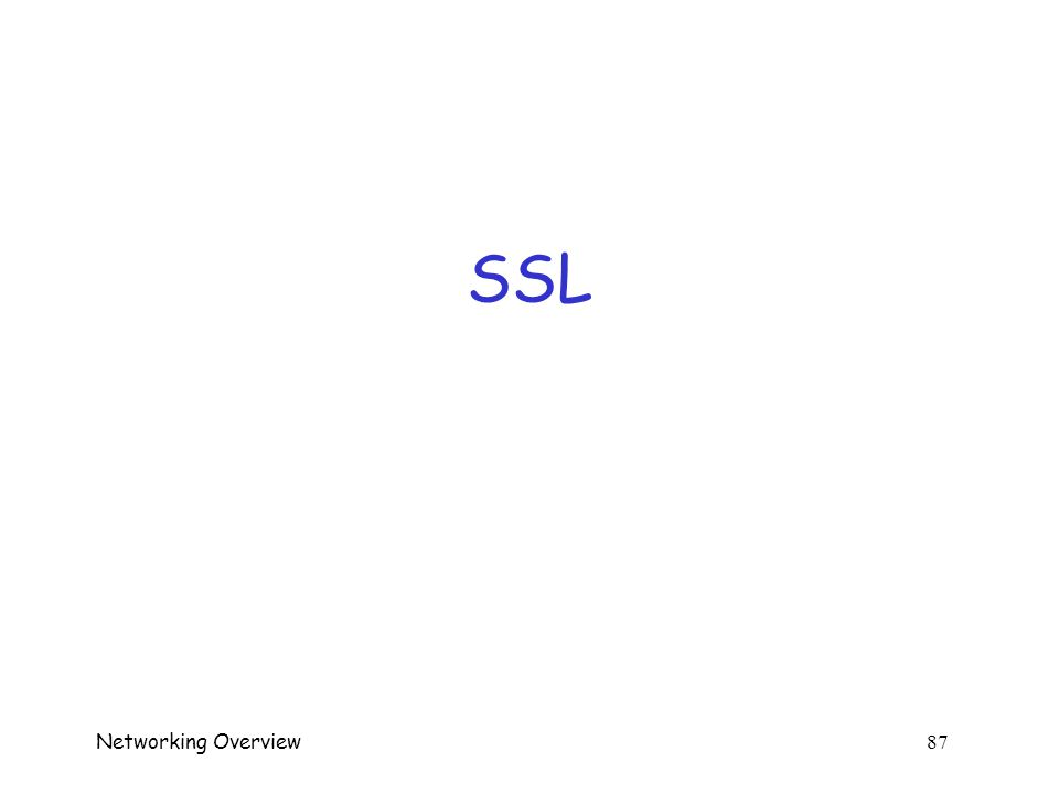 Networking Overview 86 SSL  Not quite the same as in CS166 or CS265…