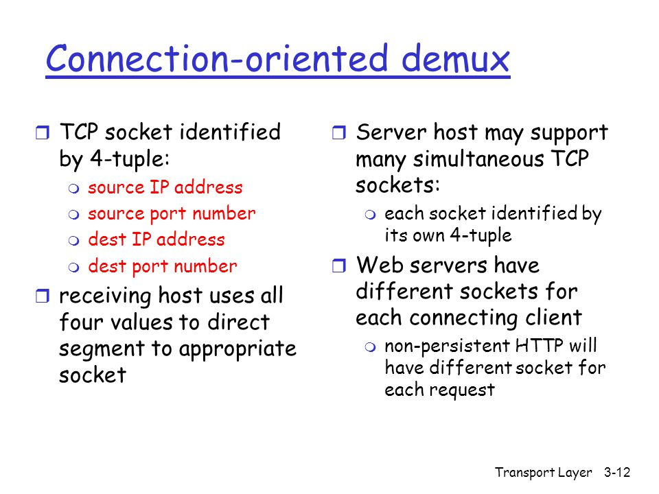 Transport Layer3-12 Connection-oriented demux r TCP socket identified by 4-tuple: m source IP address m source port number m dest IP address m dest po