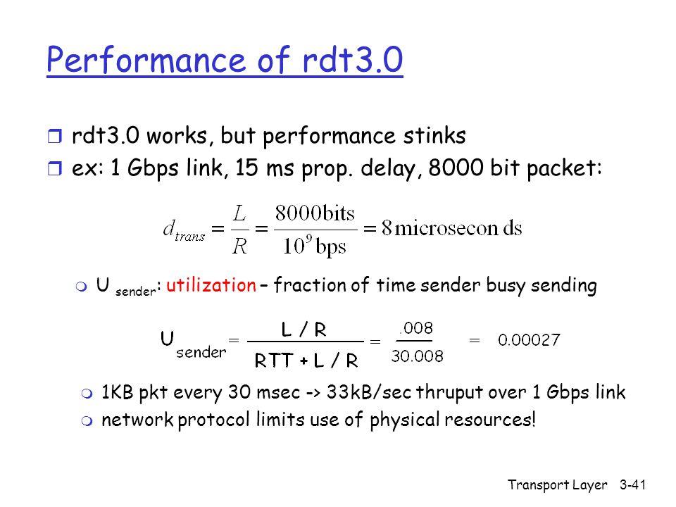 Transport Layer3-41 Performance of rdt3.0 r rdt3.0 works, but performance stinks r ex: 1 Gbps link, 15 ms prop. delay, 8000 bit packet: m U sender : u