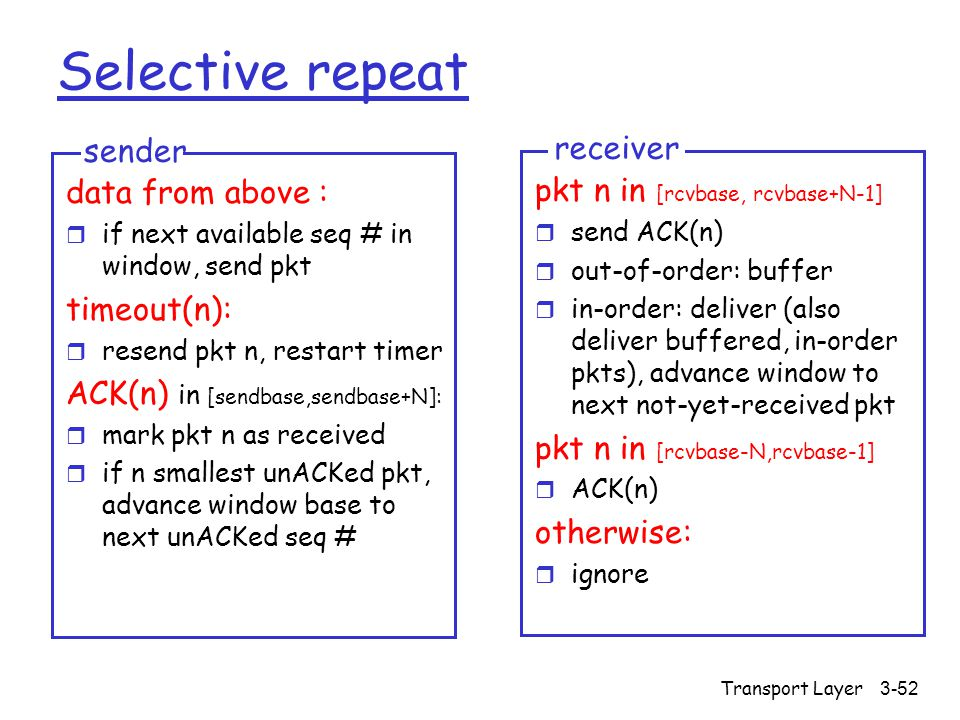 Transport Layer3-52 Selective repeat data from above : r if next available seq # in window, send pkt timeout(n): r resend pkt n, restart timer ACK(n) in [sendbase,sendbase+N]: r mark pkt n as received r if n smallest unACKed pkt, advance window base to next unACKed seq # sender pkt n in [rcvbase, rcvbase+N-1] r send ACK(n) r out-of-order: buffer r in-order: deliver (also deliver buffered, in-order pkts), advance window to next not-yet-received pkt pkt n in [rcvbase-N,rcvbase-1] r ACK(n) otherwise: r ignore receiver