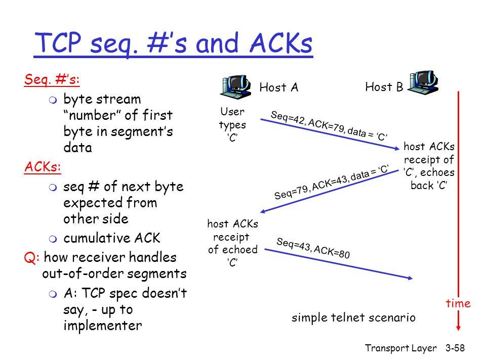 Transport Layer3-58 TCP seq. #'s and ACKs Seq.