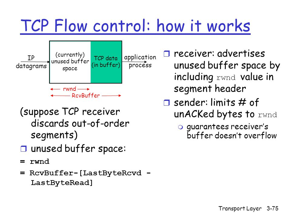 Transport Layer3-75 TCP Flow control: how it works (suppose TCP receiver discards out-of-order segments)  unused buffer space: = rwnd = RcvBuffer-[LastByteRcvd - LastByteRead]  receiver: advertises unused buffer space by including rwnd value in segment header  sender: limits # of unACKed bytes to rwnd m guarantees receiver's buffer doesn't overflow IP datagrams TCP data (in buffer) (currently) unused buffer space application process rwnd RcvBuffer