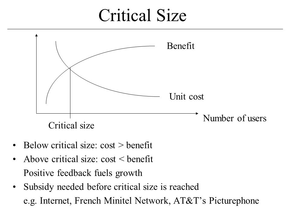 Critical Size Below critical size: cost > benefit Above critical size: cost < benefit Positive feedback fuels growth Subsidy needed before critical size is reached e.g.