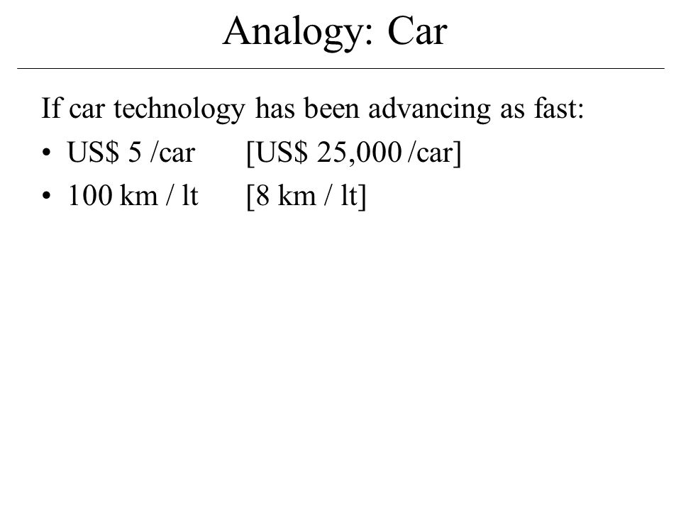 Analogy: Car If car technology has been advancing as fast: US$ 5 /car[US$ 25,000 /car] 100 km / lt[8 km / lt]