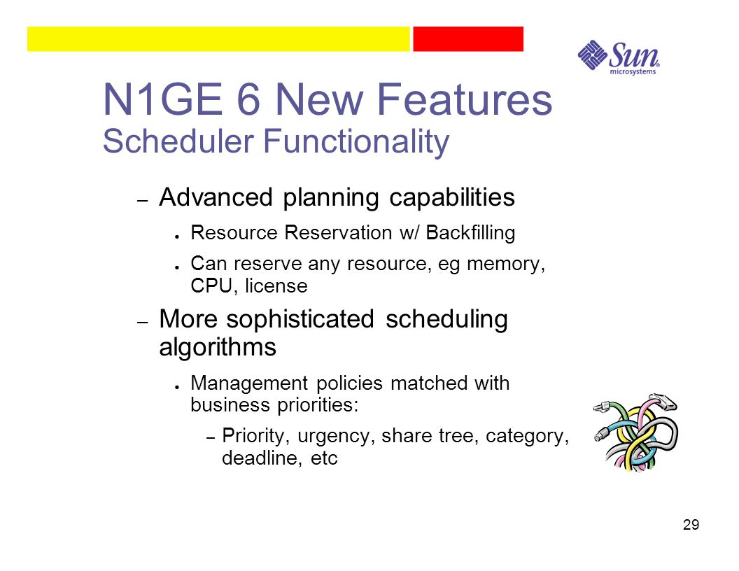 29 N1GE 6 New Features Scheduler Functionality – Advanced planning capabilities ● Resource Reservation w/ Backfilling ● Can reserve any resource, eg memory, CPU, license – More sophisticated scheduling algorithms ● Management policies matched with business priorities: – Priority, urgency, share tree, category, deadline, etc