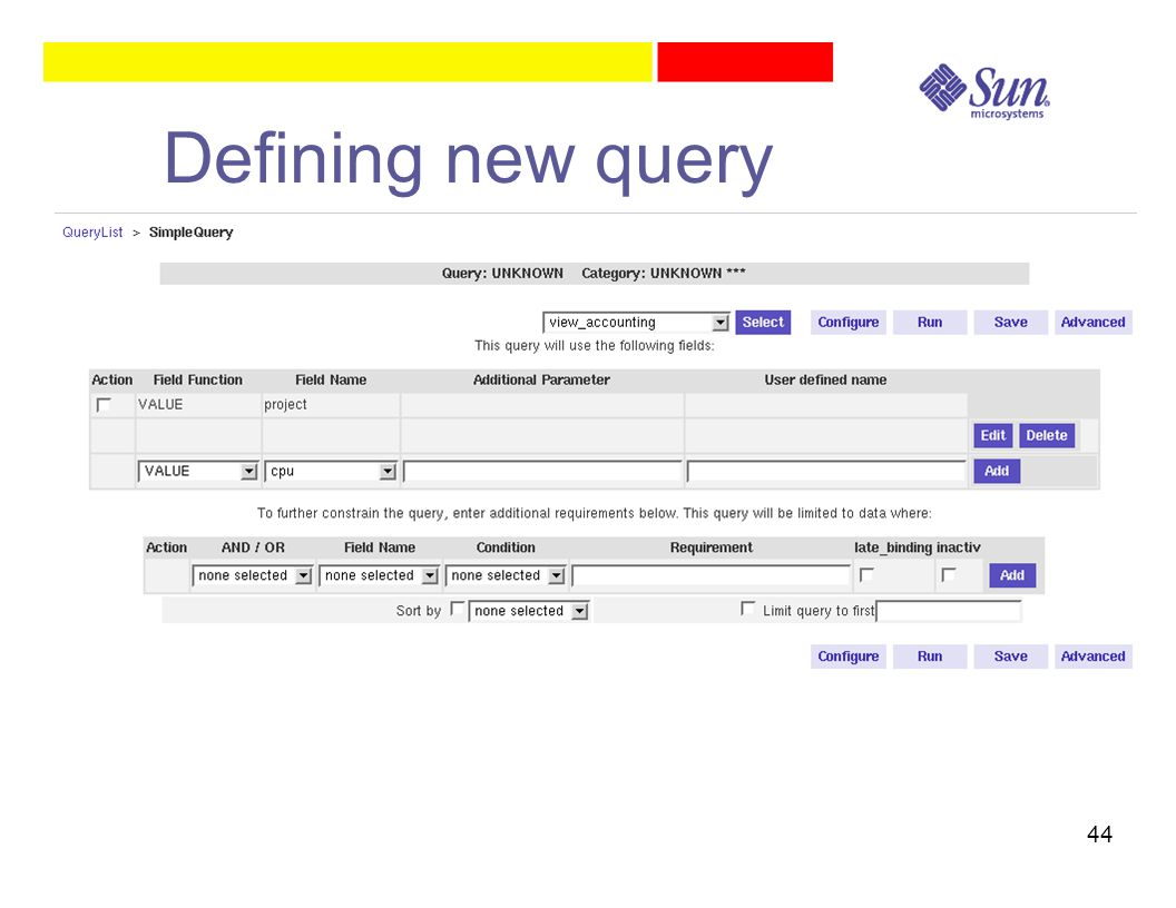 44 Defining new query