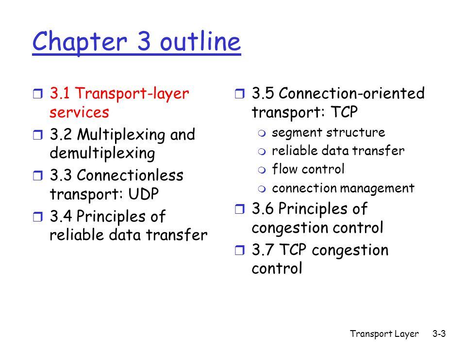 Transport Layer 3-14 Connection-oriented demux: Threaded Web Server Client IP:B P1 client IP: A P1P2 server IP: C SP: 9157 DP: 80 SP: 9157 DP: 80 P4 P3 D-IP:C S-IP: A D-IP:C S-IP: B SP: 5775 DP: 80 D-IP:C S-IP: B