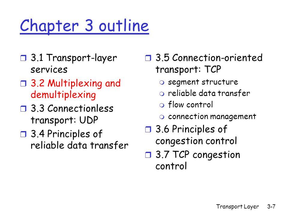 Transport Layer 3-28 rdt2.0: FSM specification Wait for call from above snkpkt = make_pkt(data, checksum) udt_send(sndpkt) extract(rcvpkt,data) deliver_data(data) udt_send(ACK) rdt_rcv(rcvpkt) && notcorrupt(rcvpkt) rdt_rcv(rcvpkt) && isACK(rcvpkt) udt_send(sndpkt) rdt_rcv(rcvpkt) && isNAK(rcvpkt) udt_send(NAK) rdt_rcv(rcvpkt) && corrupt(rcvpkt) Wait for ACK or NAK Wait for call from below sender receiver rdt_send(data) 