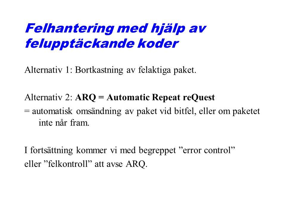 Felhantering med hjälp av felupptäckande koder Alternativ 1: Bortkastning av felaktiga paket.