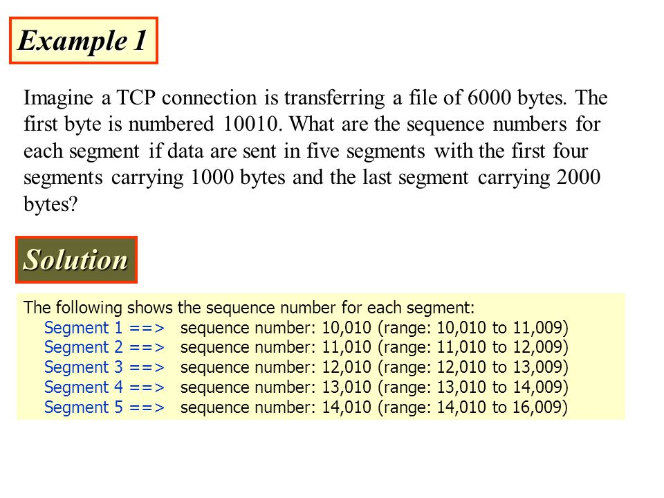 Example 1 Imagine a TCP connection is transferring a file of 6000 bytes.