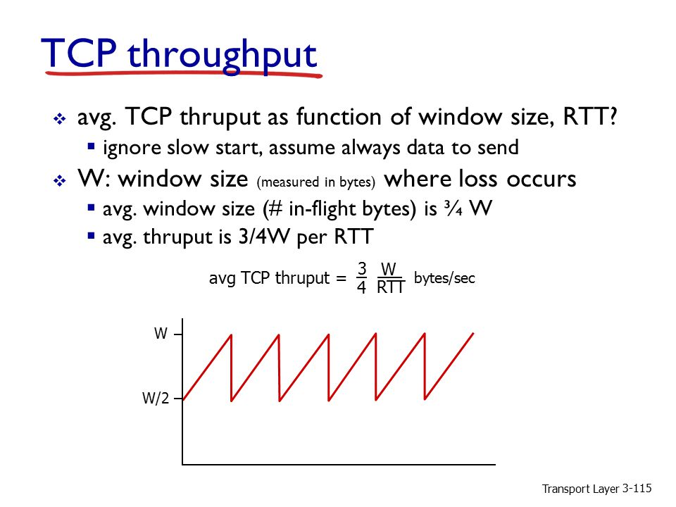 Transport Layer 3-115 TCP throughput  avg. TCP thruput as function of window size, RTT?  ignore slow start, assume always data to send  W: window s
