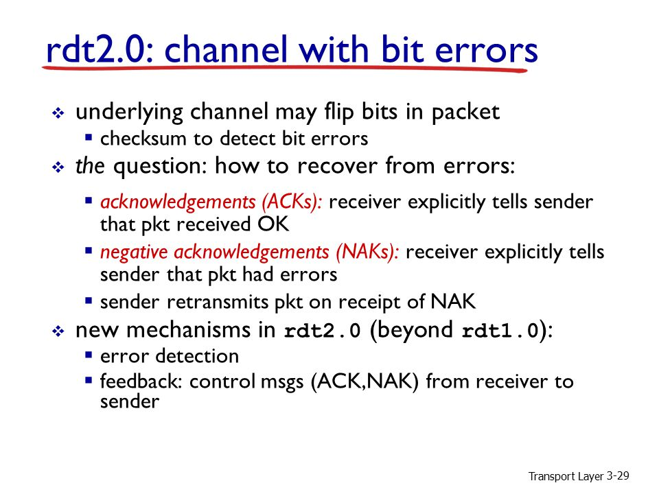 Transport Layer 3-29  underlying channel may flip bits in packet  checksum to detect bit errors  the question: how to recover from errors:  acknow