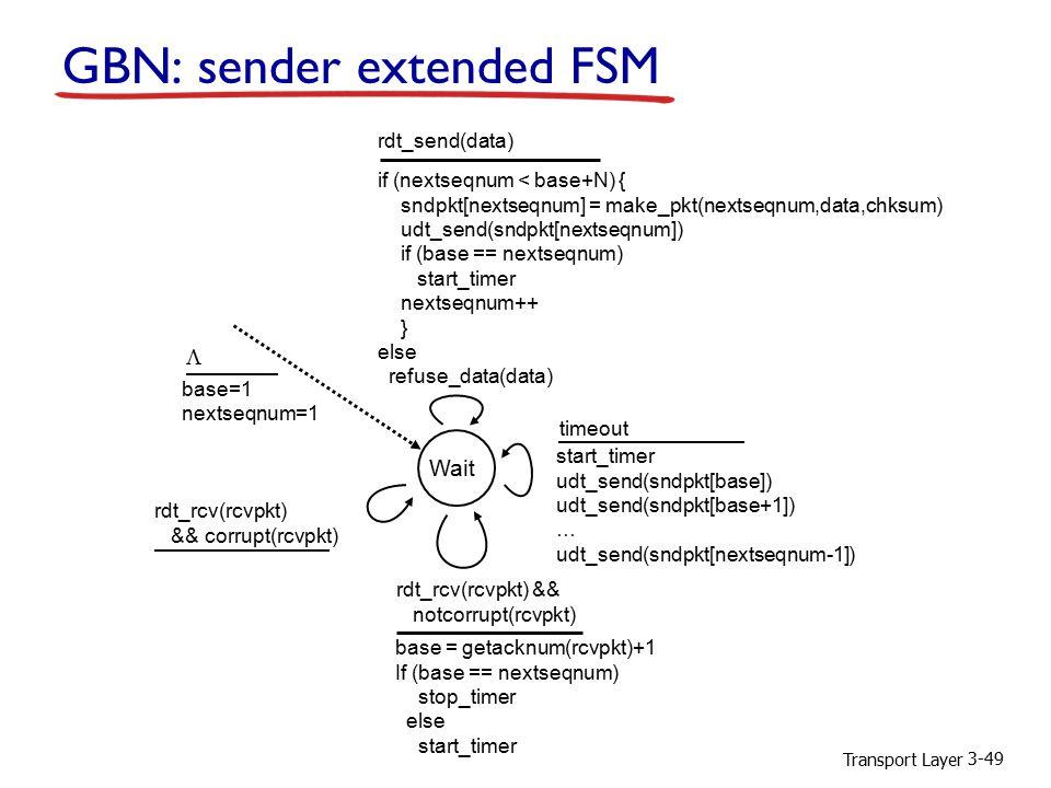 Transport Layer 3-49 GBN: sender extended FSM Wait start_timer udt_send(sndpkt[base]) udt_send(sndpkt[base+1]) … udt_send(sndpkt[nextseqnum-1]) timeout rdt_send(data) if (nextseqnum < base+N) { sndpkt[nextseqnum] = make_pkt(nextseqnum,data,chksum) udt_send(sndpkt[nextseqnum]) if (base == nextseqnum) start_timer nextseqnum++ } else refuse_data(data) base = getacknum(rcvpkt)+1 If (base == nextseqnum) stop_timer else start_timer rdt_rcv(rcvpkt) && notcorrupt(rcvpkt) base=1 nextseqnum=1 rdt_rcv(rcvpkt) && corrupt(rcvpkt) 