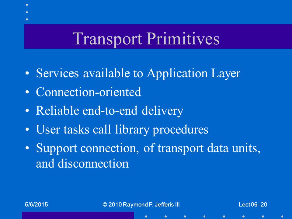 5/6/2015© 2010 Raymond P. Jefferis IIILect 06- 20 Transport Primitives Services available to Application Layer Connection-oriented Reliable end-to-end