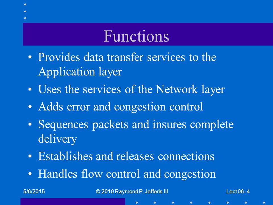 5/6/2015© 2010 Raymond P. Jefferis IIILect 06- 4 Functions Provides data transfer services to the Application layer Uses the services of the Network l