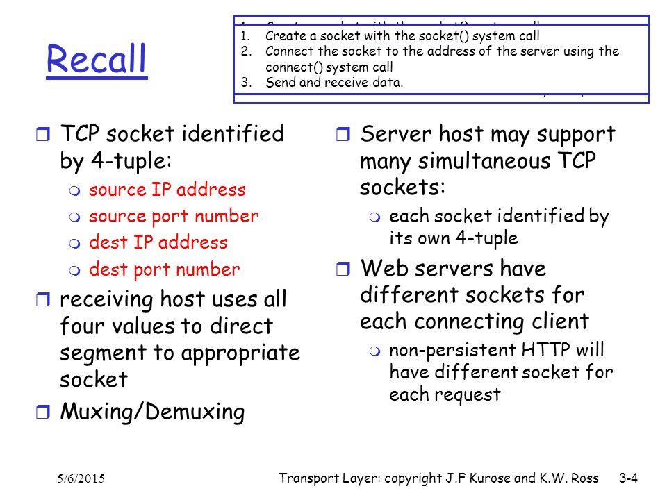 Transport Layer: copyright J.F Kurose and K.W. Ross 3-4 Recall r TCP socket identified by 4-tuple: m source IP address m source port number m dest IP