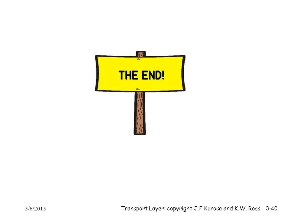 The End 5/6/2015 Transport Layer: copyright J.F Kurose and K.W. Ross 3-40
