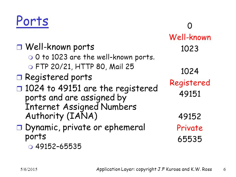Ports r Well-known ports m 0 to 1023 are the well-known ports. m FTP 20/21, HTTP 80, Mail 25 r Registered ports r 1024 to 49151 are the registered por