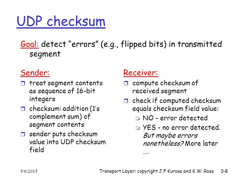 Transport Layer: copyright J.F Kurose and K.W. Ross 3-8 UDP checksum Sender: r treat segment contents as sequence of 16-bit integers r checksum: addit