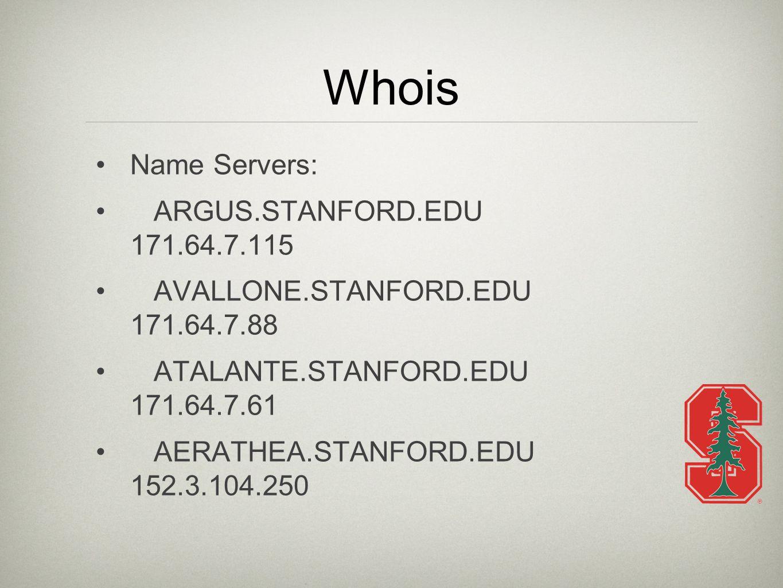 Whois Name Servers: ARGUS.STANFORD.EDU 171.64.7.115 AVALLONE.STANFORD.EDU 171.64.7.88 ATALANTE.STANFORD.EDU 171.64.7.61 AERATHEA.STANFORD.EDU 152.3.104.250