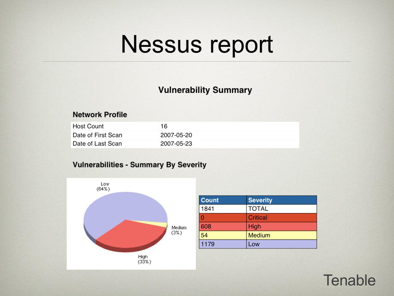 Nessus report Tenable